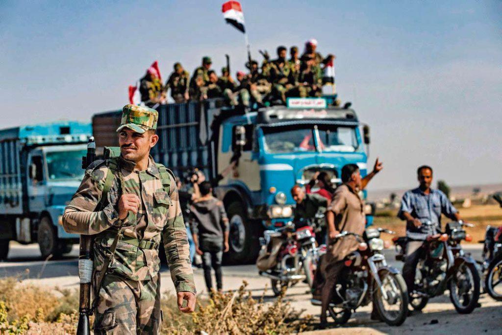 Российская военная полиция выполняет роль посредника между турецкой и сирийской армиями, находящимися в городе Манбидж.