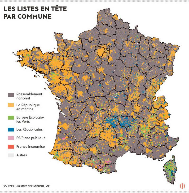 На картинке результаты голосования на выорах в Европарламент: серый – голоса «Национальное объединение», оранжевый – «Вперёд, Респубика!», зелёный – «Зелёные», синий – республиканцы, розовый – «общественное место», красный – «Франция непокорённая», белый – другие.