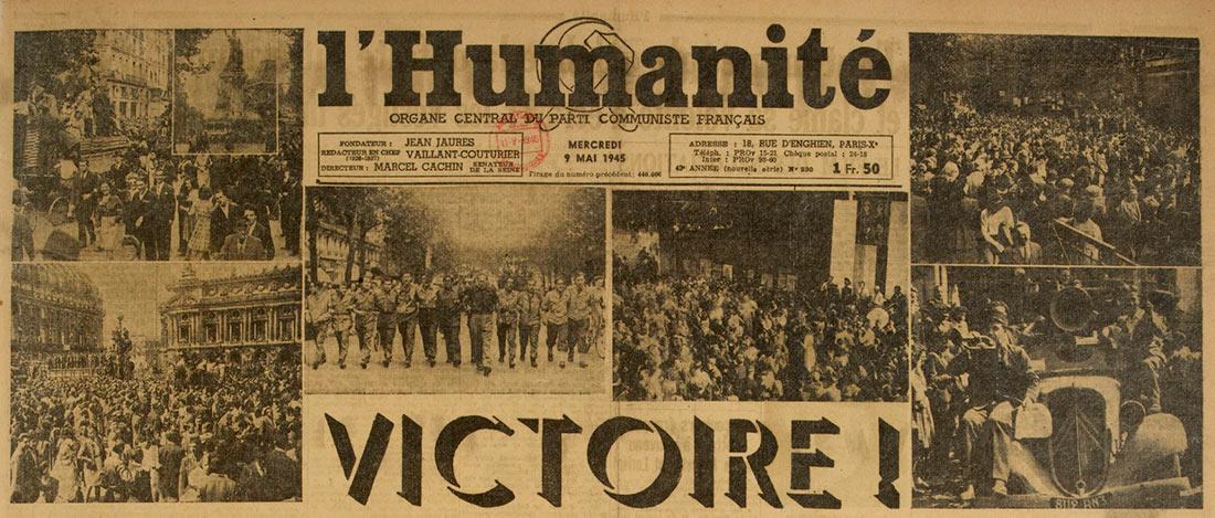 Приводим поздравления, направленные советскому руководству и напечатанные в выпуске газеты «Юманите» от 9 мая 1945 г.